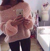 Свитер женский теплый крупной вязки модный, магазин одежды 2017