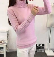 Свитер гольф женский теплый под горло из ангоры розовый