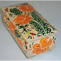 Шкатулка дерев., лак., с ручной росписью цвет.узорами 16*8 см. //(172018)