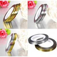 Цветная декоративная лента для дизайна ногтей 0,1 мм, золото и серебро