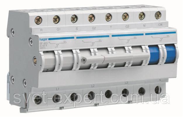 Перемикач введення резерву, 400В / 63A, 3 + N Хагер SF463