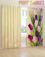 Фото шторы фиолетовые тюльпаны