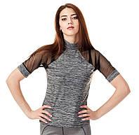 Женская спортивная футболка с сеткой. Серая