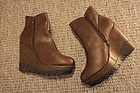 Женские ботинки танкетка кожа Шоколад осень 36-41
