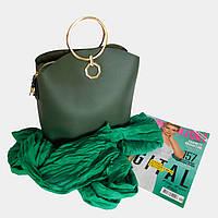 Сумка жіноча зелена з екошкіри / Сумка женская зеленая из экокожи