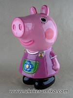 Копилка Свинка Пеппа из мультика Свинка Пеппа, сувенир или статуэтка керамическая украинского производства