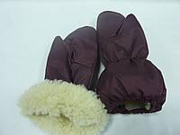 Краги на меху бордовые, фото 1
