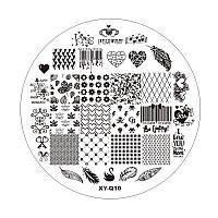 Пластиковый диск для стемпинга, белый, XY-Q10
