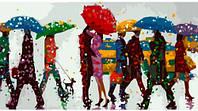 Разноцветный дождь, серия Люди, рисование по номерам, 27 х 50 см, Идейка, разноцв. дождь (КН-2628)