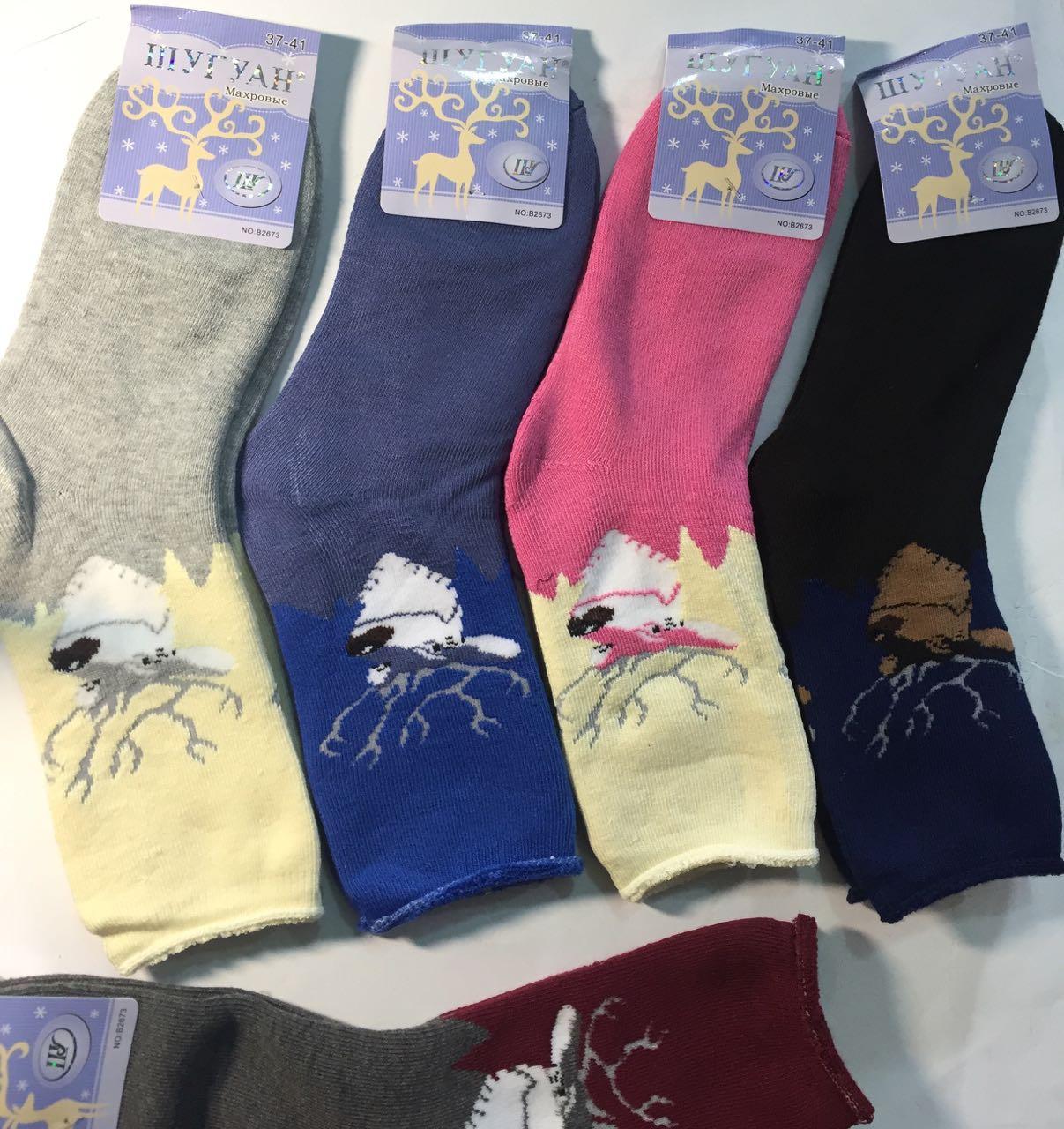 Махровые женские носки Шугуан Олени 37-41 Хлопок