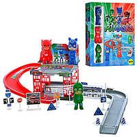 Детский игровой набор Паркинг Герои в масках PJ Masks DS019-1A -2 этажа, машинка, фигурки 3шт (8см), дорожн.