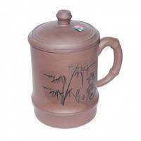 Кружка глиняная с крышкой «Бамбуковый куст»