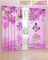 Фото шторы бабочки и орхидея