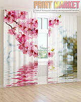 Фото шторы цветущая розовая ветка