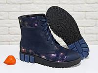 Ботинки из итальянской натуральной матовой кожи синего цвета