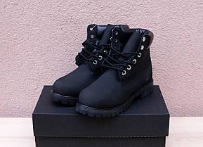 Мужские зимние ботинки Timberland черные топ реплика, фото 3