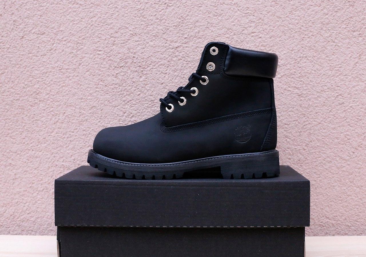 Мужские зимние ботинки Timberland черные топ реплика