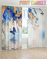 Фото шторы синие цветы и бабочки