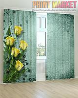 Фото шторы желтые розы