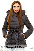 Теплая зимняя куртка на холоффайбере черная