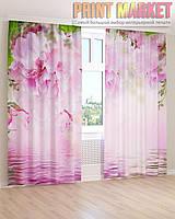 Фото шторы розовые цветы