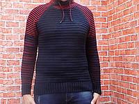 Свитер мужской, вязанный (цвет синий с бордовыми вст.) Kaptan 50156