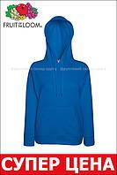 Женская лёгкая толстовка с капюшоном Ярко-синяя Fruit Of The Loom 62-148-51 XL