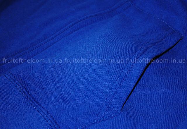 Ярко-синяя женская лёгкая толстовка на замке с капюшоном