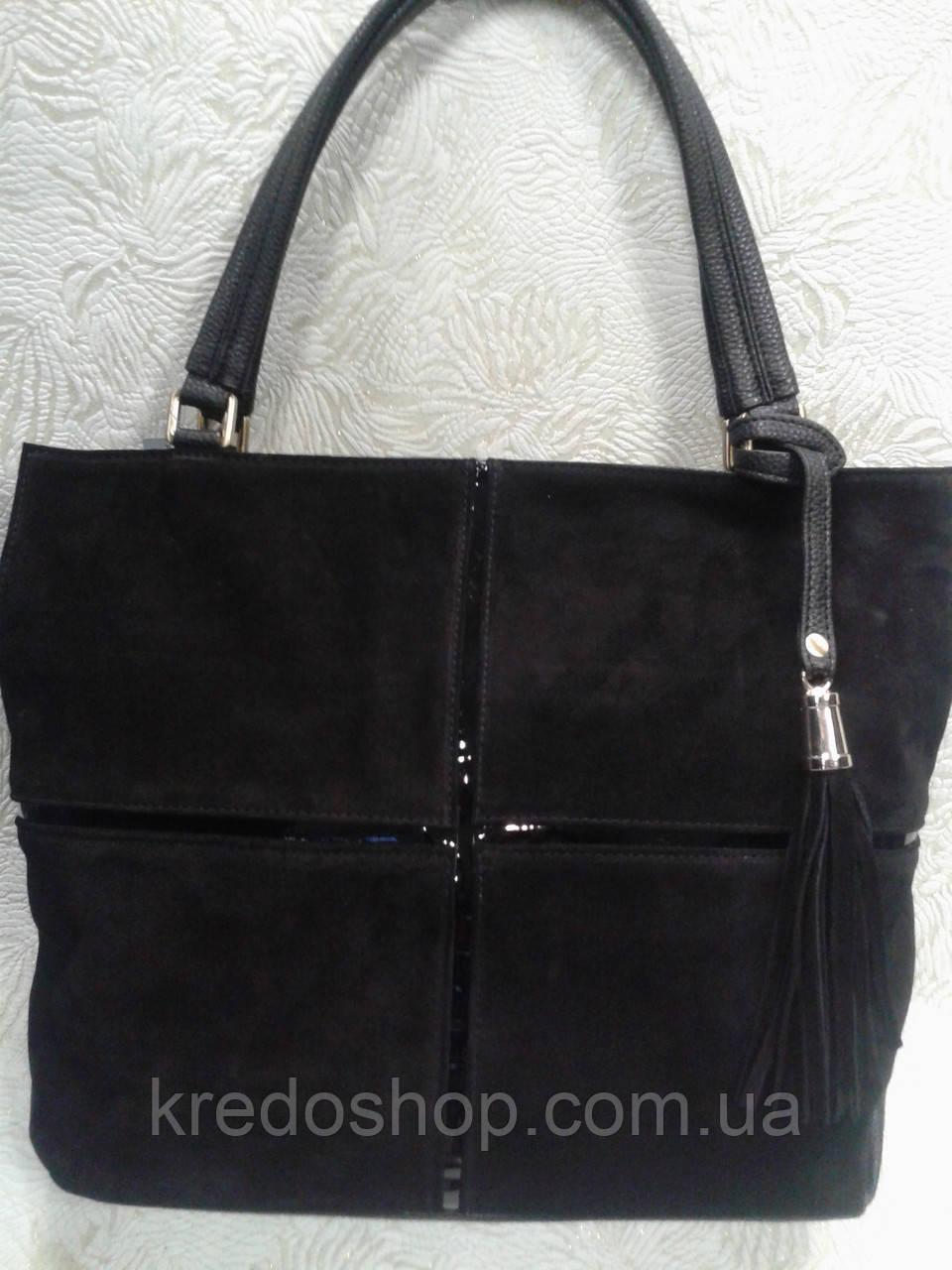 ff9c15a54657 Женская сумка замшевая черная стильная - Интернет-магазин сумок и  аксессуаров