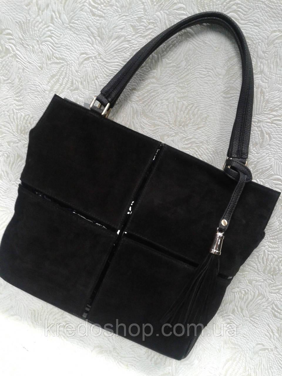 450e604e19e1 Женская сумка замшевая черная стильная, цена 830 грн., купить в Кривом Роге  — Prom.ua (ID#602724462)