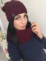 Женский набор шарф-хомут и шапка (много расцветок) w-41075