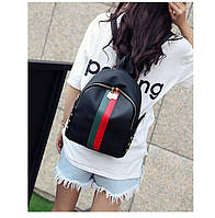 Женский рюкзак черный с красной и зеленой полосами