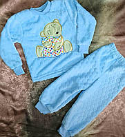 Детская теплая пижама для мальчика с мишкой 26-32 р