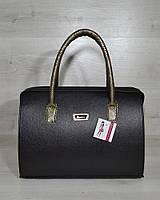 Женская сумка-саквояж WL 31128 черный с золотыми ручками