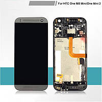 Дисплей (LCD) HTC One M8 mini/ One mini 2 с сенсором серый+ рамка