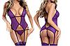 Фиолетовый боди - корсет с креплениями для чулков