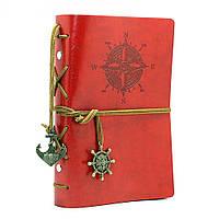[ Блокнот Компас ретро ] Винтажный ежедневник книжка для записей  Красный