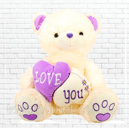 Детская мягкая игрушка, плюшевый мишка Ромео с фиолетовым сердечком