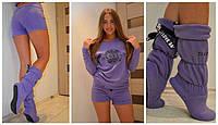 Домашний костюм-пижама + сапожки цвет фиолетовый, фото 1
