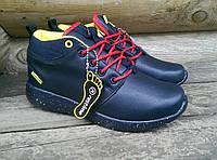 Зиние ботинки Restime с красной шнуровкой, т.синий, натуральная кожа.