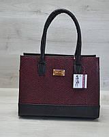 Женская каркасная сумка WL 31208 бордовая змея с черным гладким