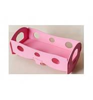 Деревянная кроватка для кукол розовая K040