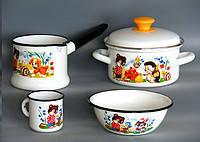 КМК Набор детской эмалированной посуды - Кокетка 0.8 л (белый)