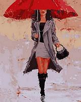 Рисование картины по цифрам Под красным зонтом