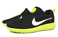 Кроссовки мужские беговые Nike Roshe Run Slip On GPX Black Green
