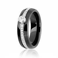 Серебряное кольцо с черной керамикой К2ФК/1000