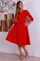 Красное модное платье с кружевом на рукавах
