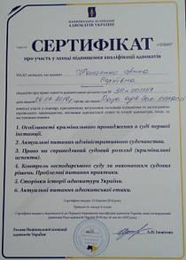 Сертификат полученный адвокатом Пащенко Анной Сергеевной за повышение квалификации. Июль 2016 года Запорожье.