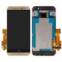 Дисплей (LCD) HTC One M9 с сенсором черный + рамка золотистая