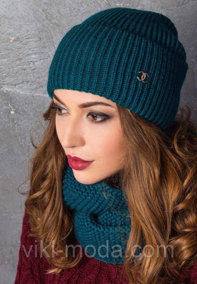 Зимний набор шапка + снуд восьмерка